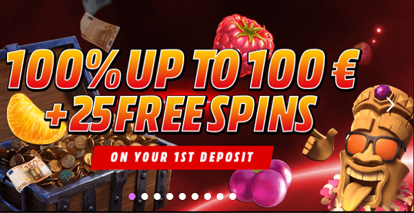 100% bonus and 25 free spins