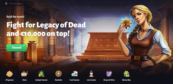 Win big on Legacy of Dead slot!