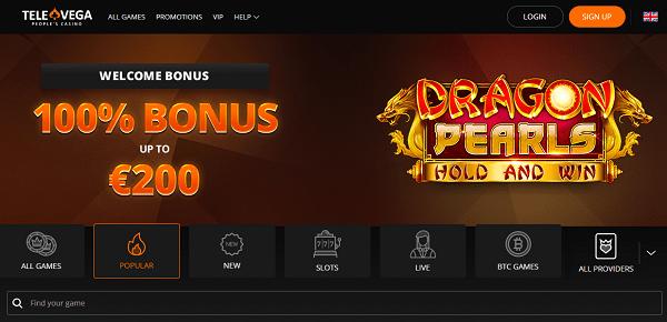 100% match bonus and 100 gratis spins on first deposit