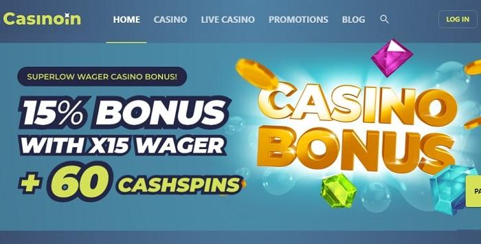 15% extra bonus and 60 cash spins