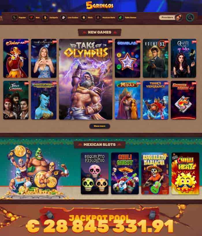 Full Review of 5 Gringos Casino Online