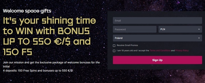 Register and get 150 free spins