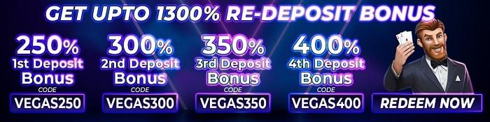 1300% Re-Deposit Bonuses
