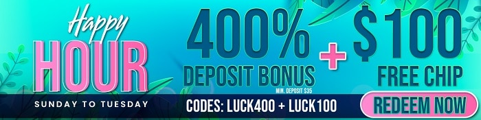 400% + $100 Free Chip